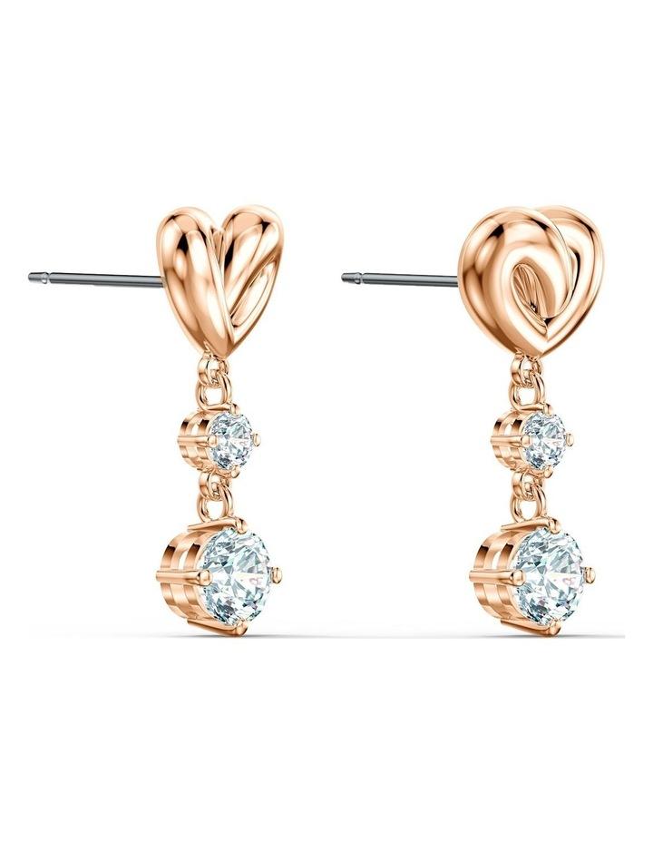 Lifelong Heart Pierced Earrings - White - Rose-gold Tone Plated image 3
