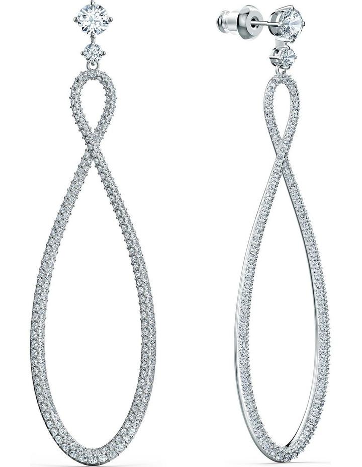 Infinity Hoop Pierced Earrings - White - Rhodium Plated image 2