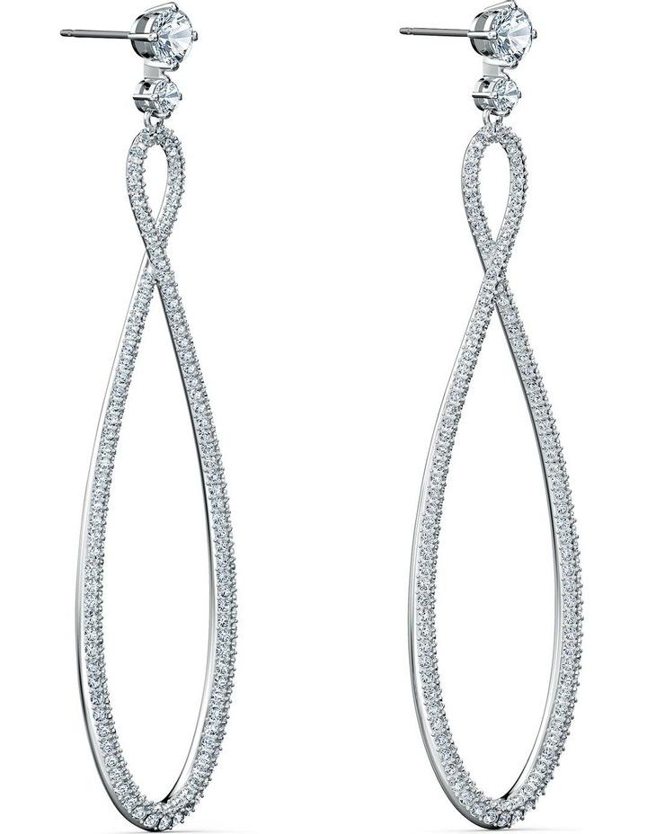 Infinity Hoop Pierced Earrings - White - Rhodium Plated image 3
