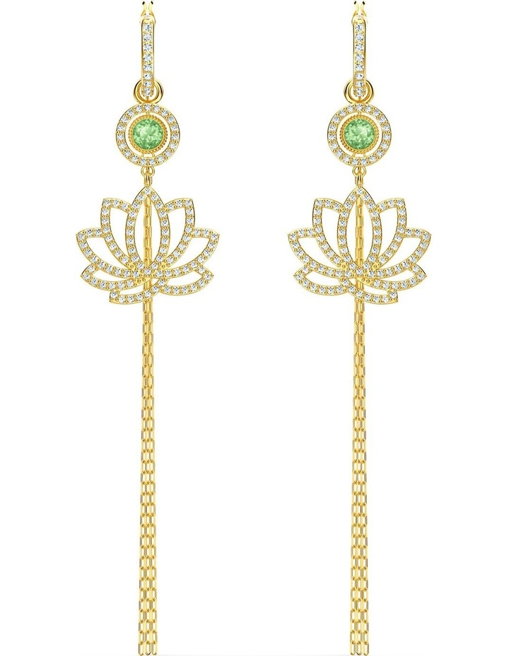 Symbolic Lotus Pierced Earrings - Green - Gold-tone Plated image 1