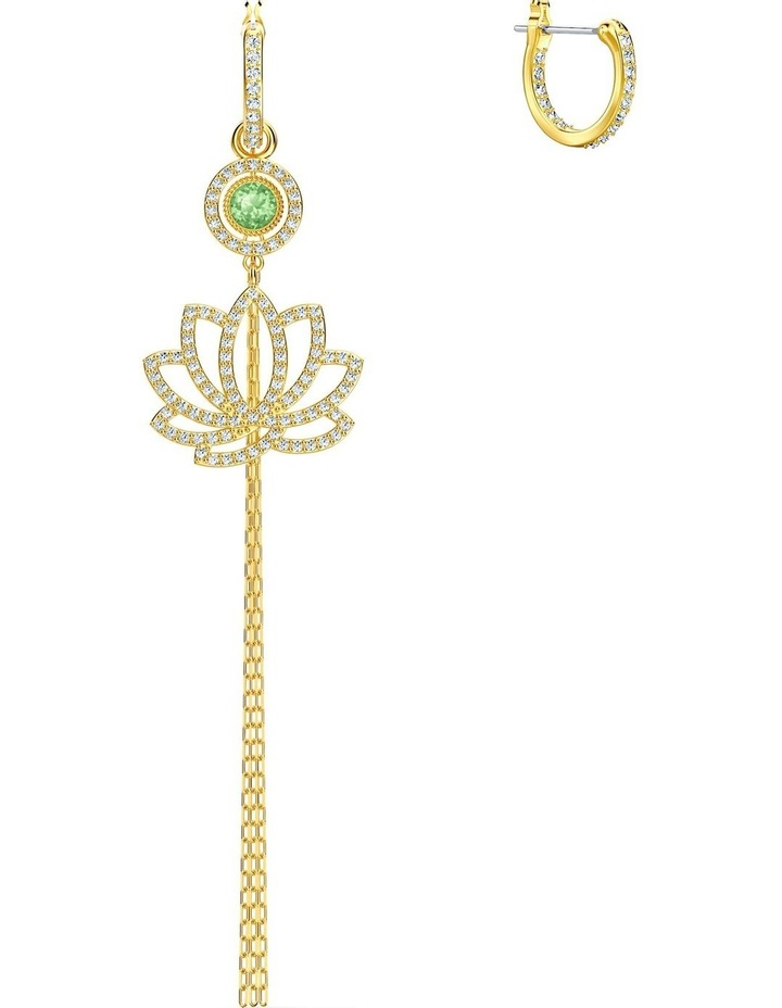 Symbolic Lotus Pierced Earrings - Green - Gold-tone Plated image 3