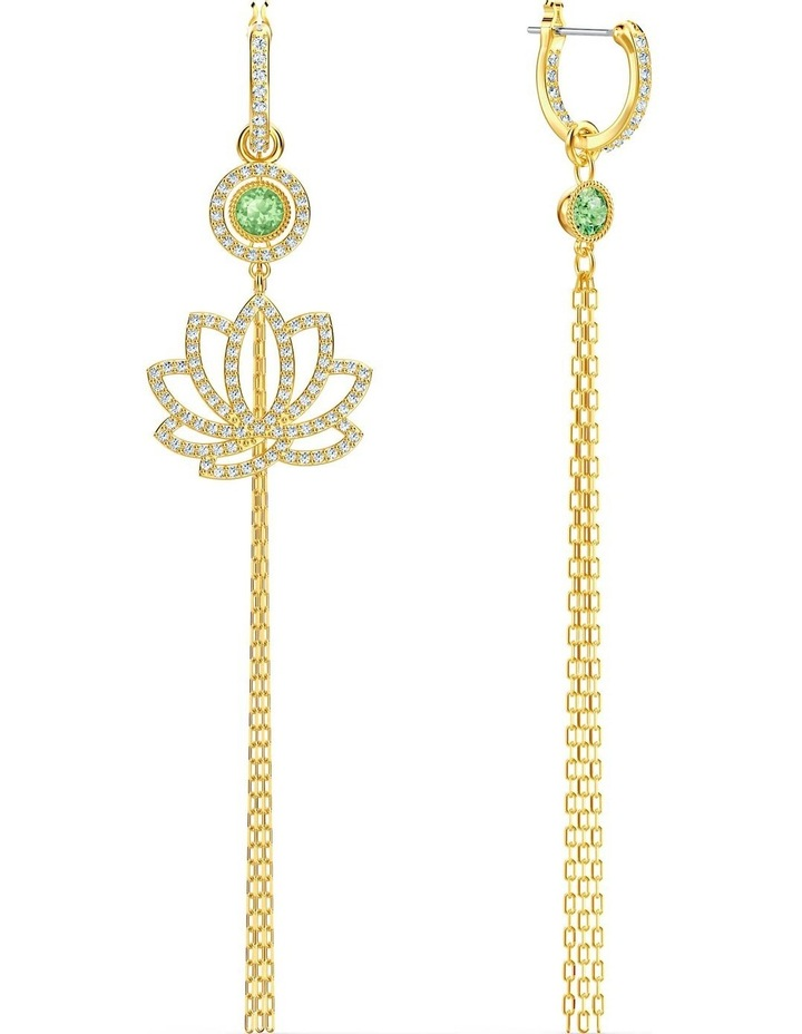 Symbolic Lotus Pierced Earrings - Green - Gold-tone Plated image 6