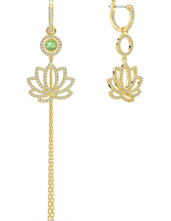 Symbolic Lotus Pierced Earrings - Green - Gold-tone Plated image 7
