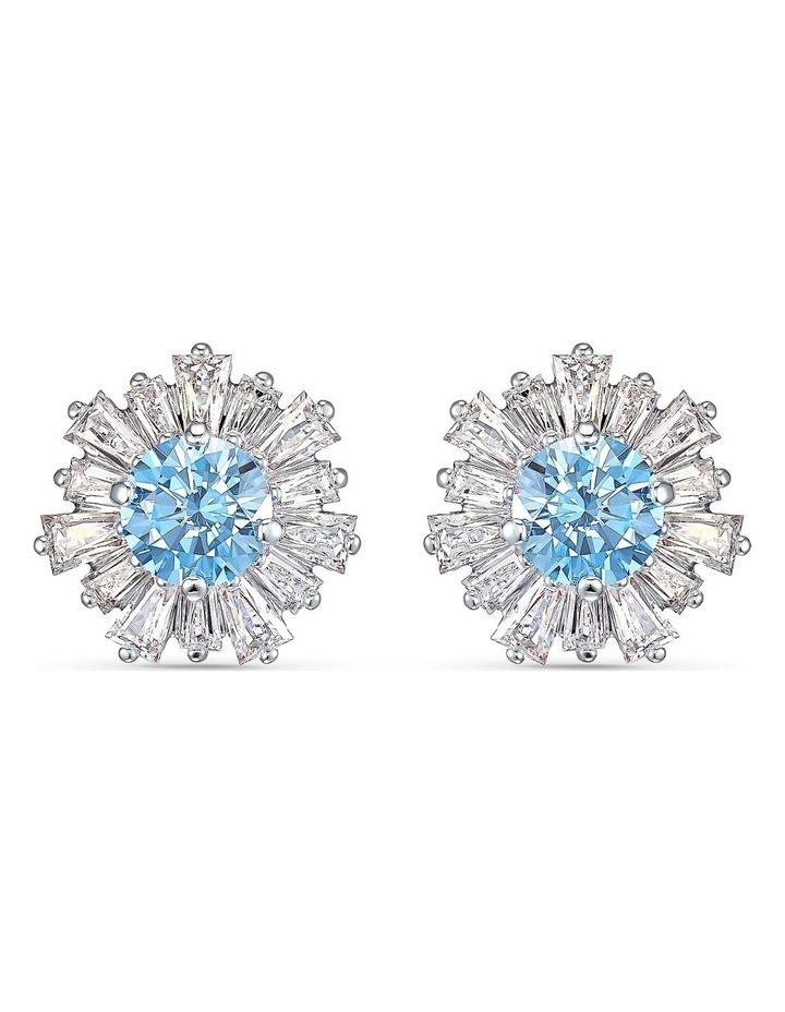 Sunshine Pierced Earrings - Blue - Rhodium Plated image 1