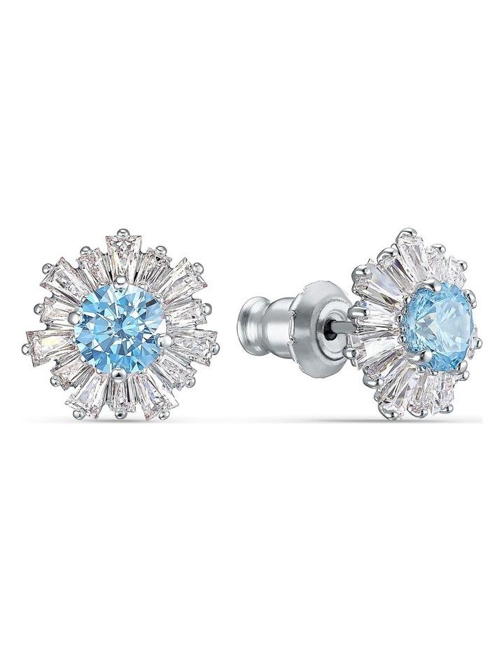 Sunshine Pierced Earrings - Blue - Rhodium Plated image 2