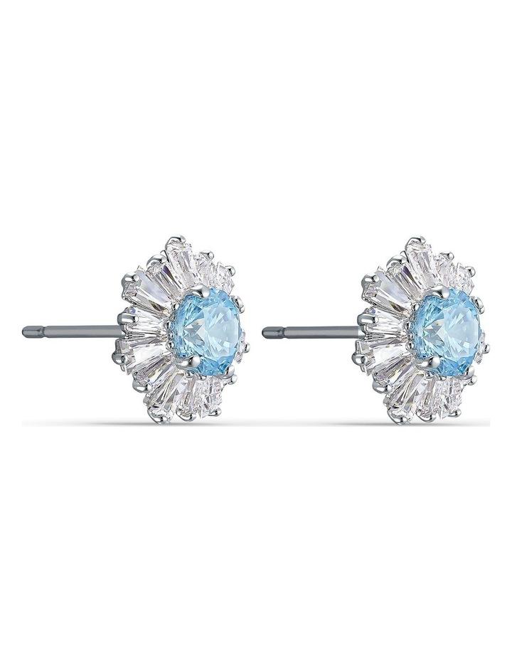 Sunshine Pierced Earrings - Blue - Rhodium Plated image 3