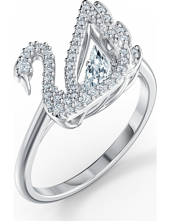 Dancing Swan Ring - White - Rhodium Plated 55mm image 3