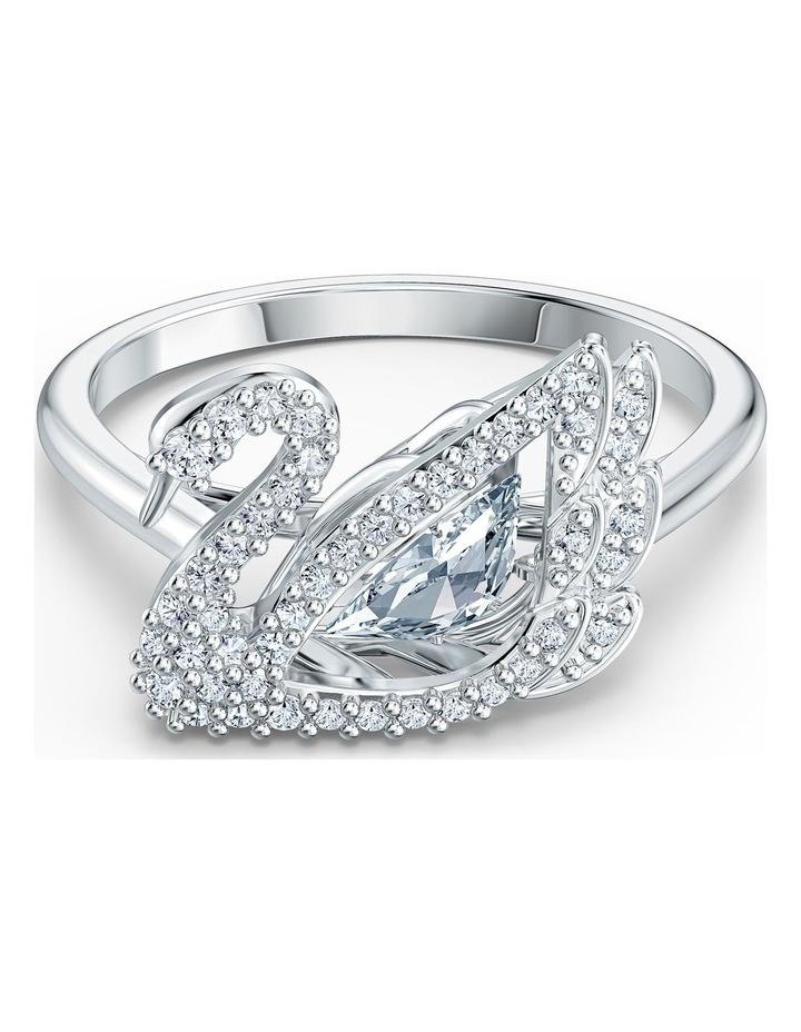 Dancing Swan Ring - White - Rhodium Plated 58mm image 1