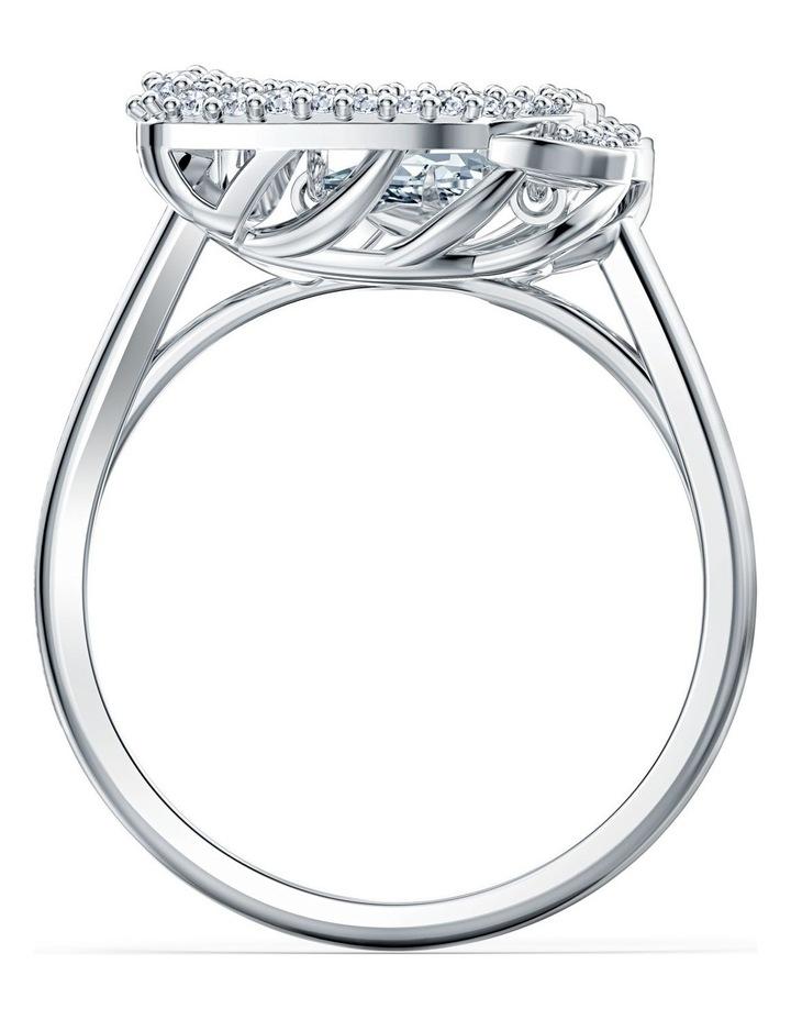Dancing Swan Ring - White - Rhodium Plated 58mm image 2