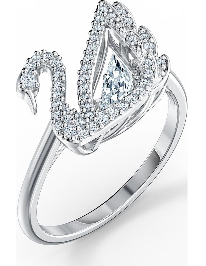 Dancing Swan Ring - White - Rhodium Plated 58mm image 3