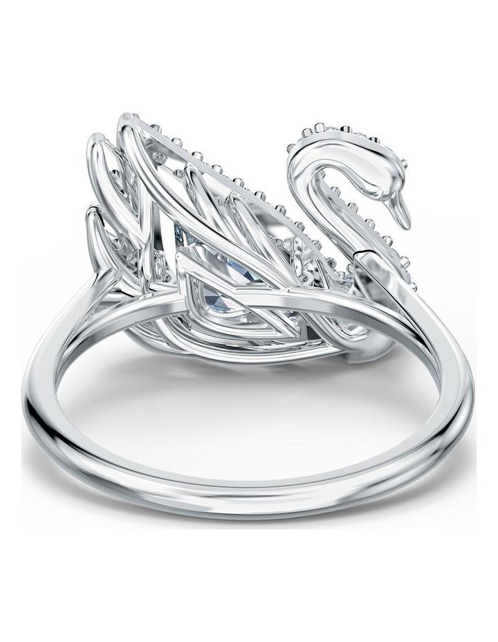 Dancing Swan Ring - White - Rhodium Plated 58mm image 4
