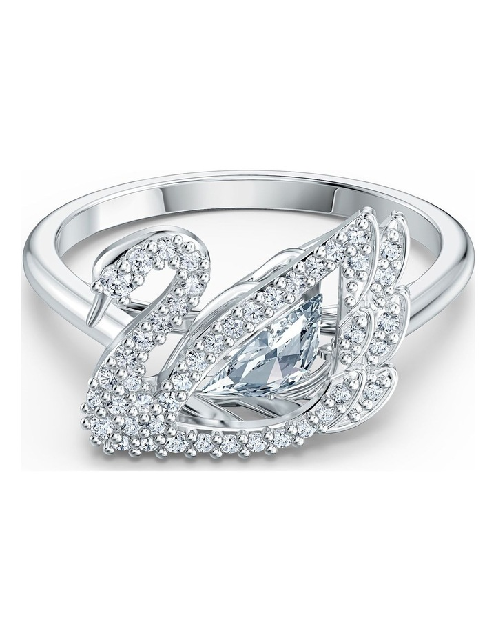 Dancing Swan Ring - White - Rhodium Plated 60mm image 1