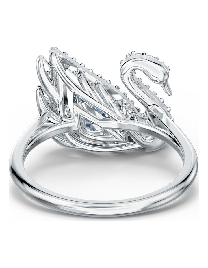 Dancing Swan Ring - White - Rhodium Plated 60mm image 4