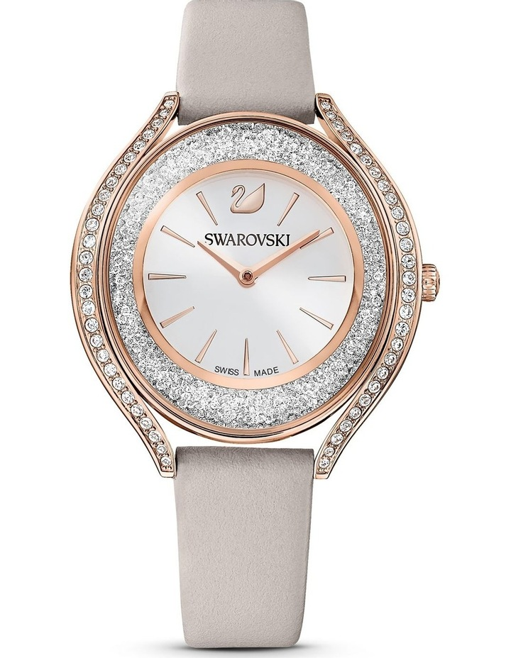 Crystalline Aura Watch - Leather Strap - Gray - Rose-gold Tone Pvd image 1