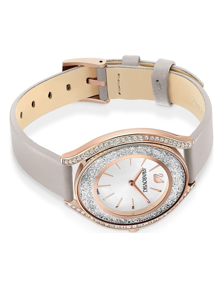 Crystalline Aura Watch - Leather Strap - Gray - Rose-gold Tone Pvd image 3