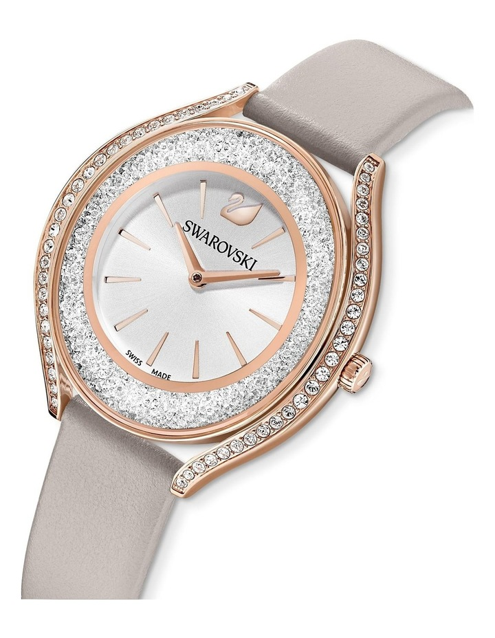 Crystalline Aura Watch - Leather Strap - Gray - Rose-gold Tone Pvd image 4