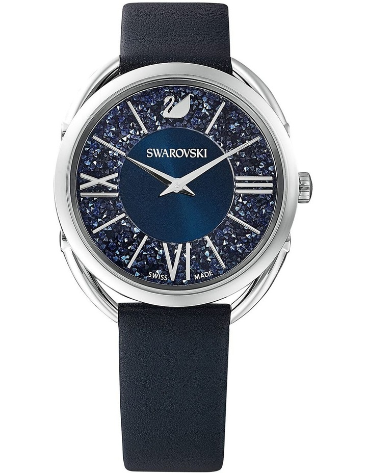 Crystalline Glam Watch - Leather Strap - Blue - Stainless Steel image 1
