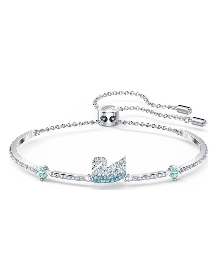 Iconic Swan Bangle - Blue - Rhodium Plated image 1