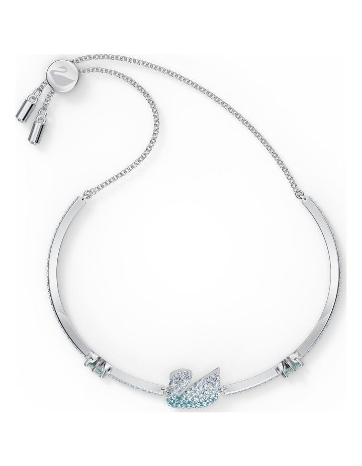 Iconic Swan Bangle - Blue - Rhodium Plated image 2