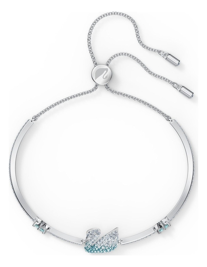 Iconic Swan Bangle - Blue - Rhodium Plated image 3