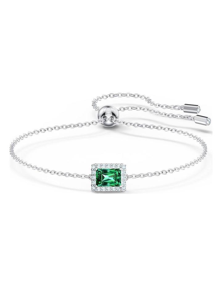 Angelic Rectangular Bracelet - Green - Rhodium Plated image 1