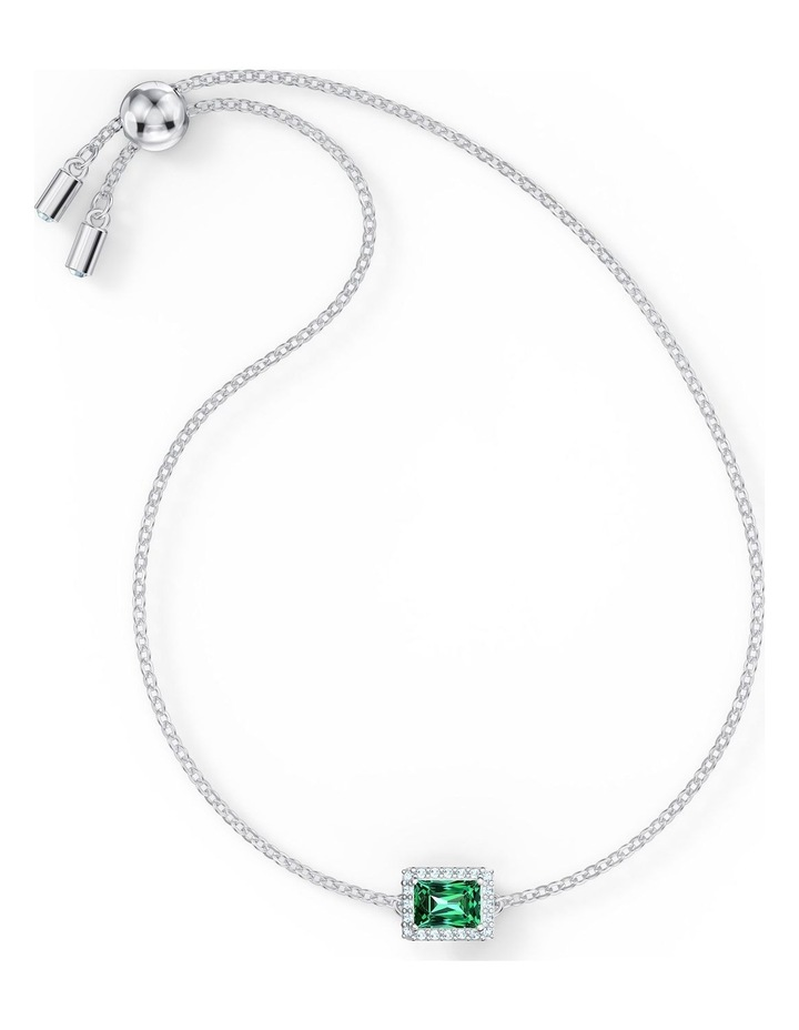 Angelic Rectangular Bracelet - Green - Rhodium Plated image 2