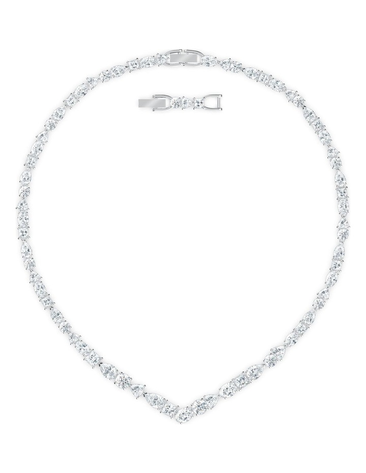 Tennis Deluxe Mixed V Necklace - White - Rhodium Plated image 1