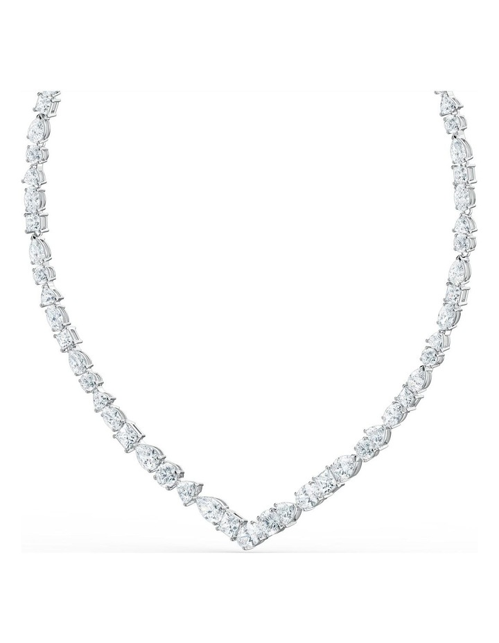 Tennis Deluxe Mixed V Necklace - White - Rhodium Plated image 3