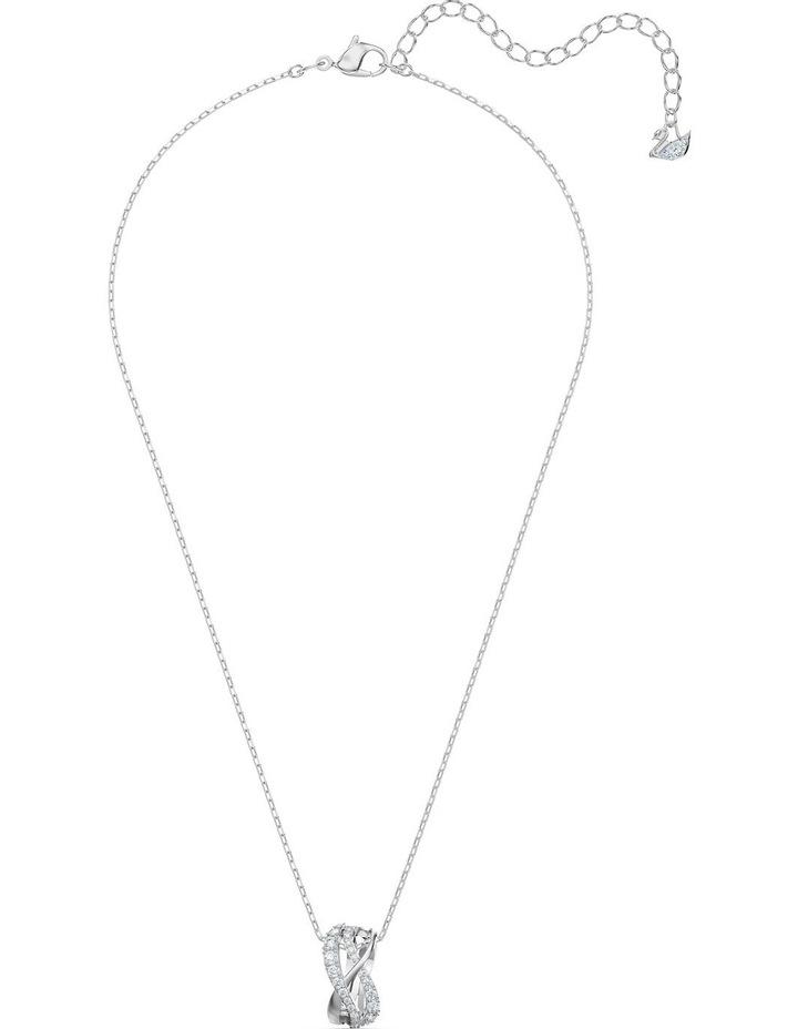 Twist Rows Pendant - White - Rhodium Plated image 2