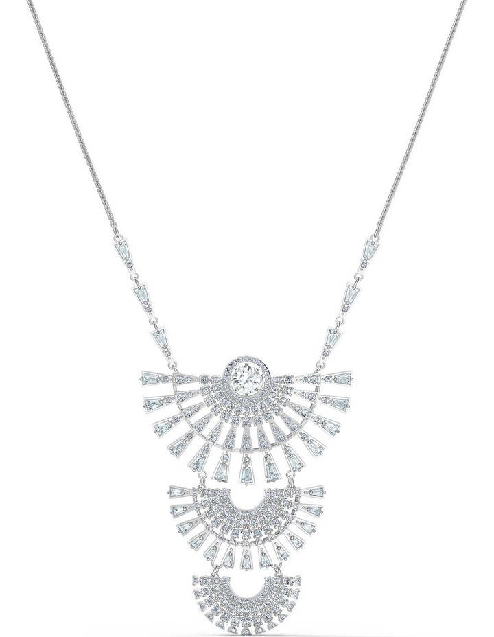 Sparkling Dance Dial Up Necklace - Large - White - Rhodium Plated image 1