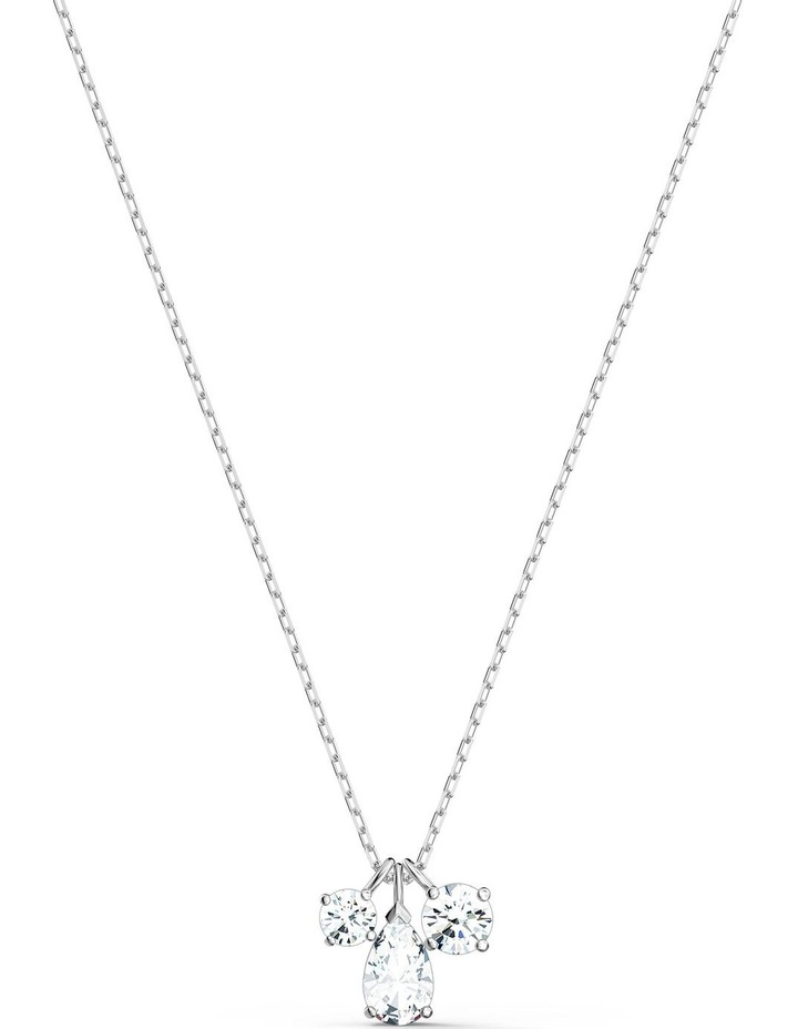 Attract Cluster Pendant - White - Rhodium Plated image 1
