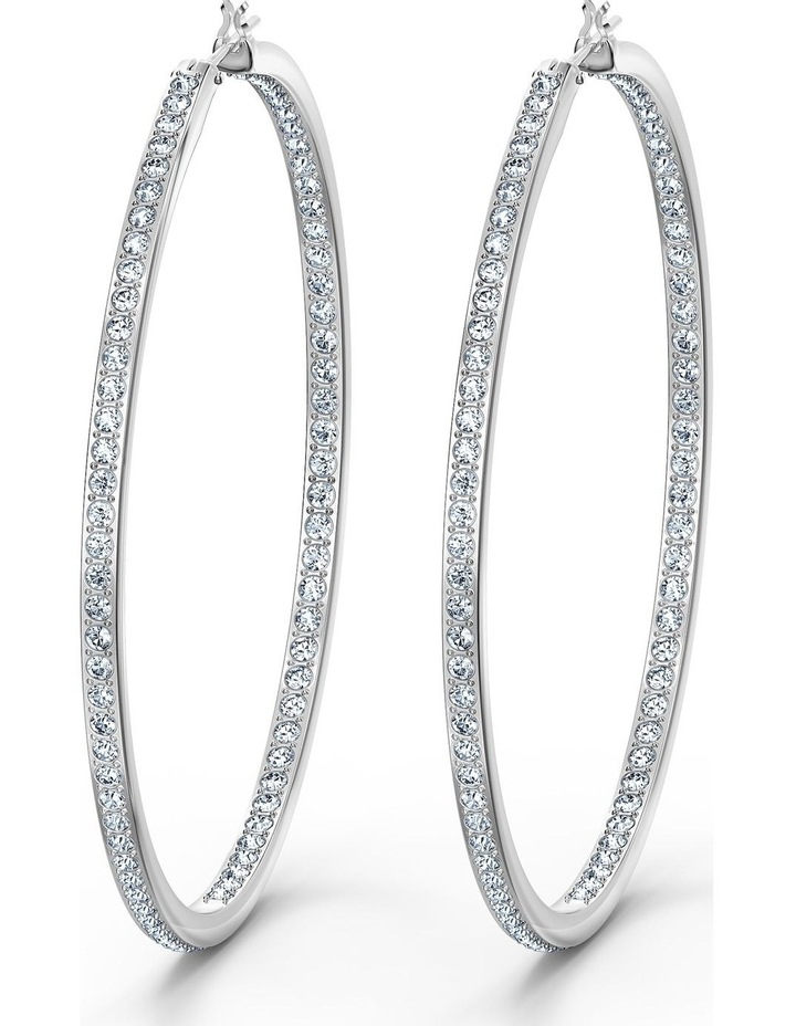 Rare Hoop Pierced Earrings - White - Rhodium Plated image 1