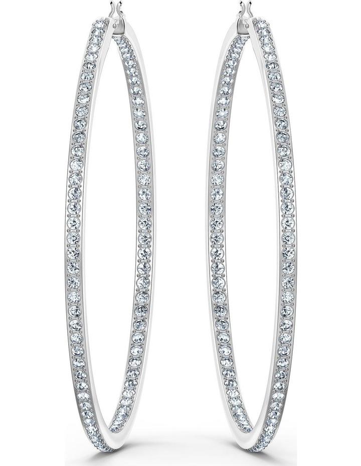 Rare Hoop Pierced Earrings - White - Rhodium Plated image 3