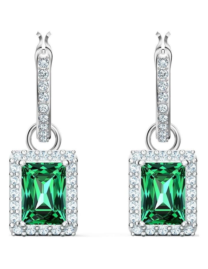 Angelic Rectangular Pierced Earrings - Green - Rhodium Plated image 1