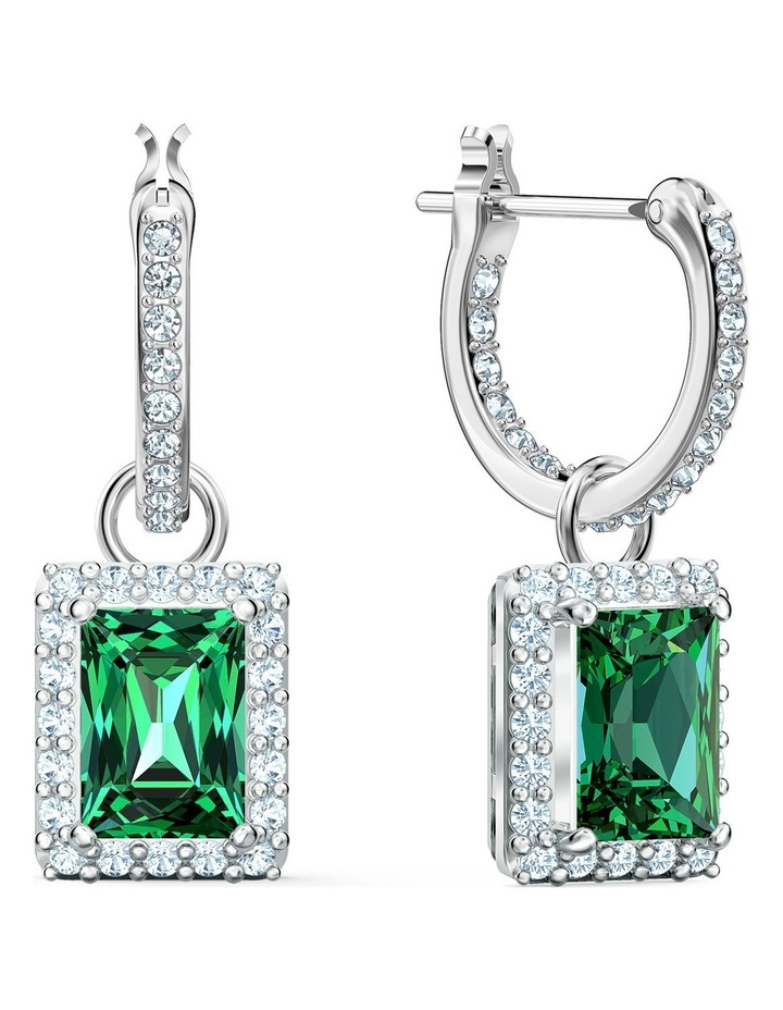Angelic Rectangular Pierced Earrings - Green - Rhodium Plated image 2