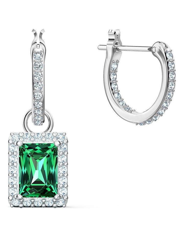 Angelic Rectangular Pierced Earrings - Green - Rhodium Plated image 3