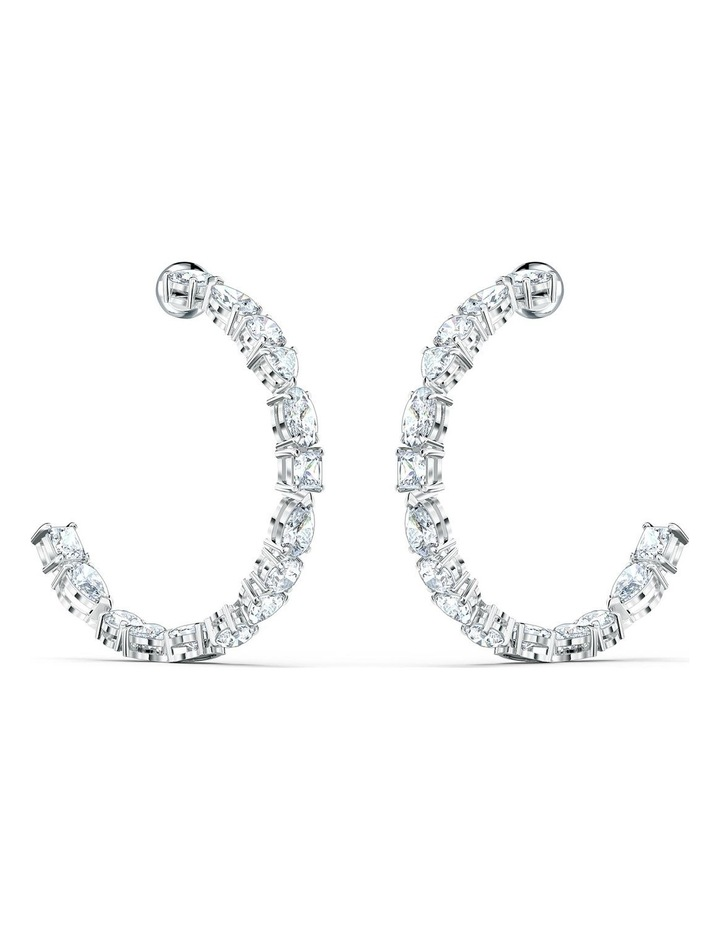 Tennis Deluxe Mixed Hoop Pierced Earrings - White - Rhodium Plated image 1
