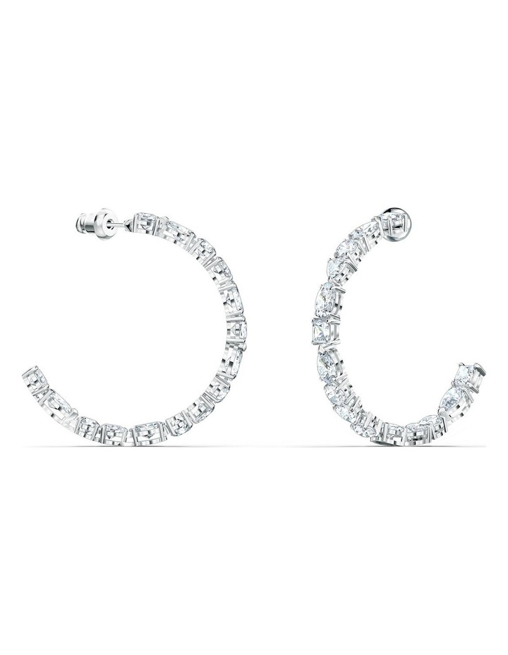 Tennis Deluxe Mixed Hoop Pierced Earrings - White - Rhodium Plated image 2