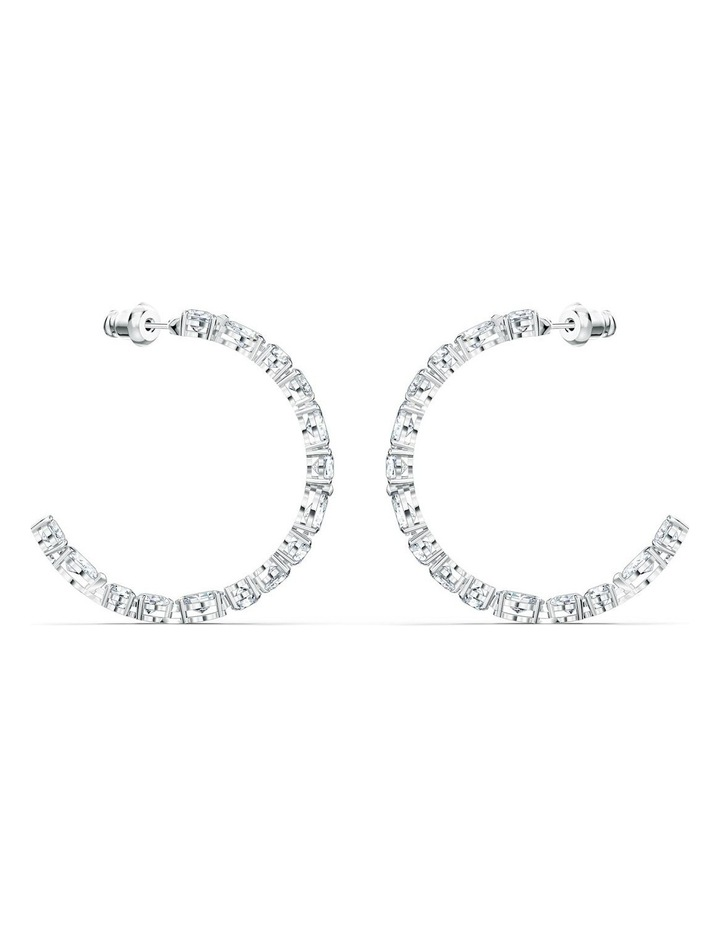 Tennis Deluxe Mixed Hoop Pierced Earrings - White - Rhodium Plated image 3