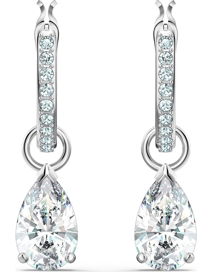 Attract Pear Mini Hoop Pierced Earrings - White - Rhodium Plated image 1