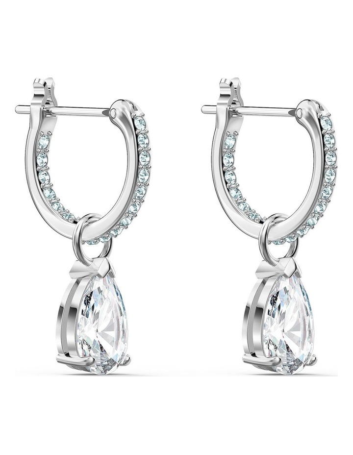 Attract Pear Mini Hoop Pierced Earrings - White - Rhodium Plated image 3