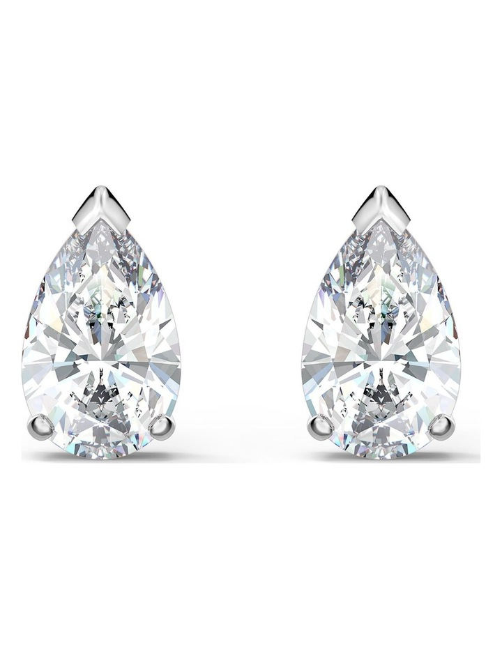Attract Pear Stud Pierced Earrings - White - Rhodium Plated image 1