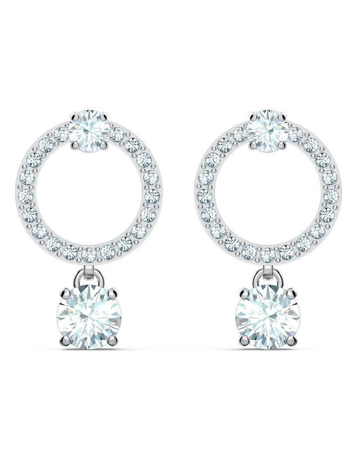 Attract Circle Pierced Earrings - White - Rhodium Plated image 1
