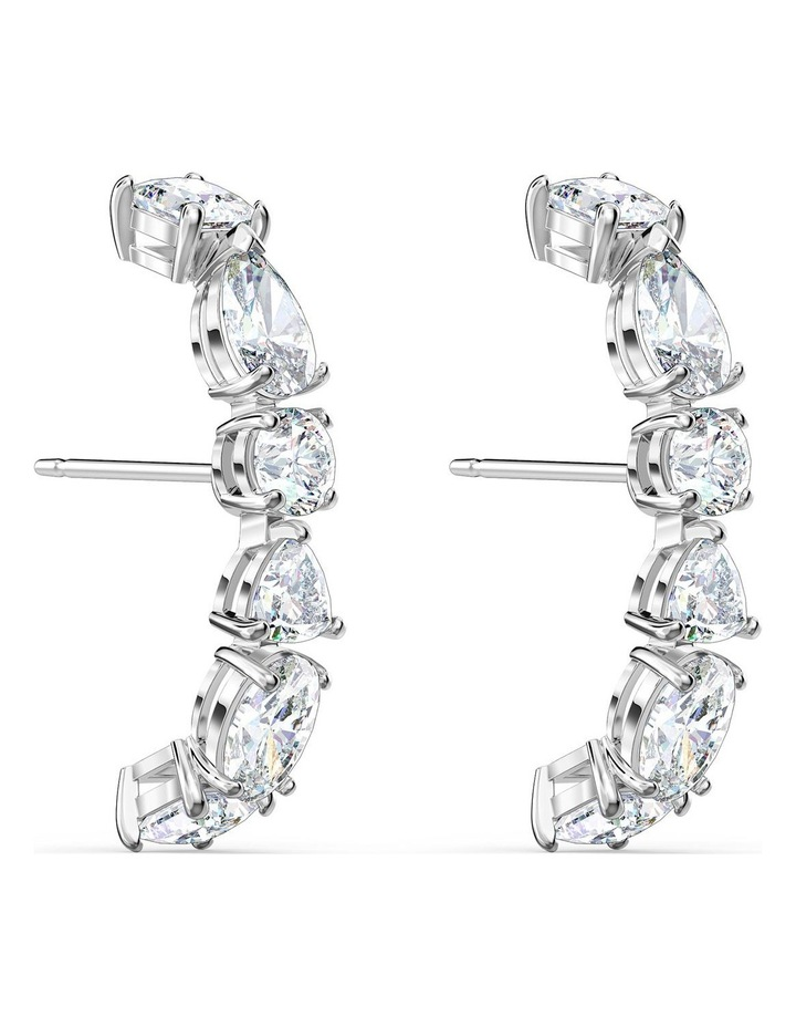 Tennis Deluxe Mixed Pierced Earrings - White - Rhodium Plated image 3