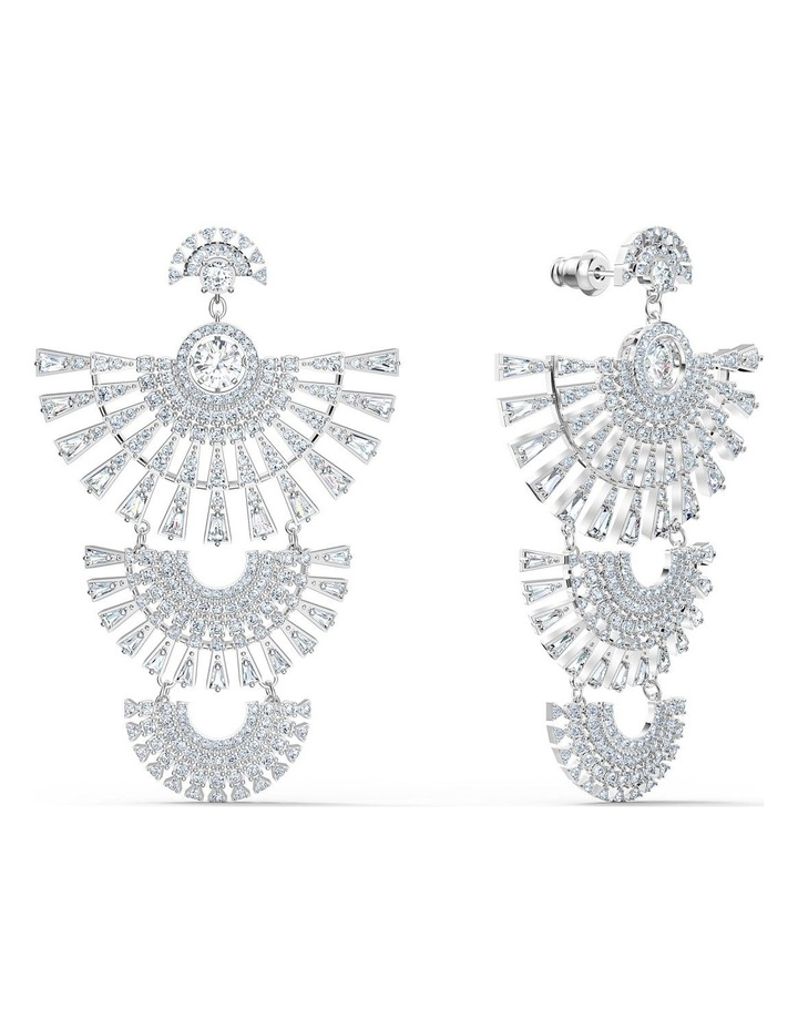 Sparkling Dance Dial Up Pierced Earrings - White - Rhodium Plated image 2