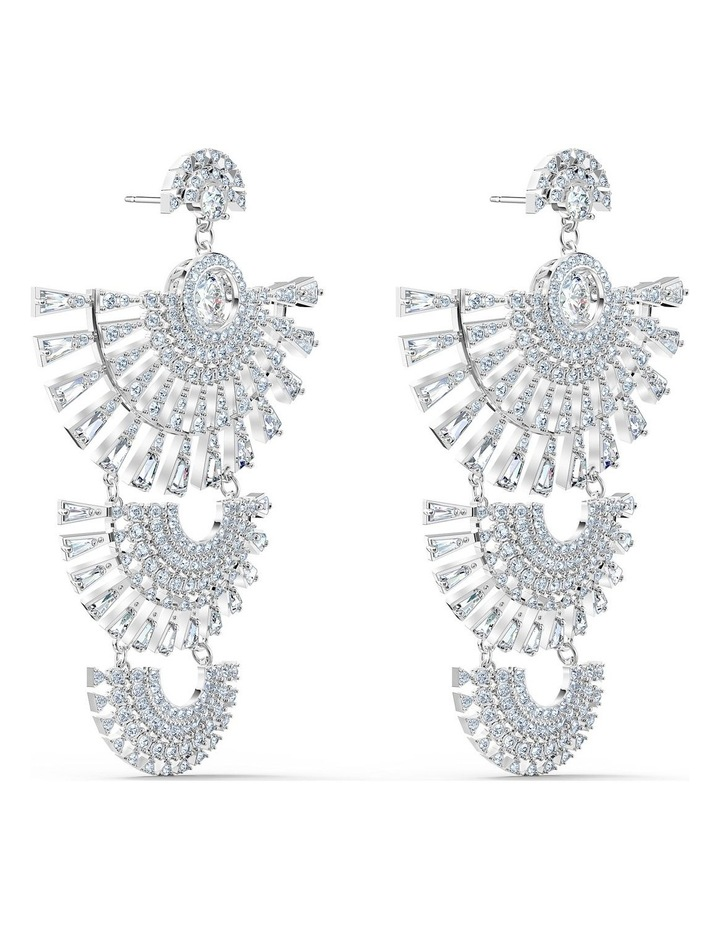 Sparkling Dance Dial Up Pierced Earrings - White - Rhodium Plated image 3
