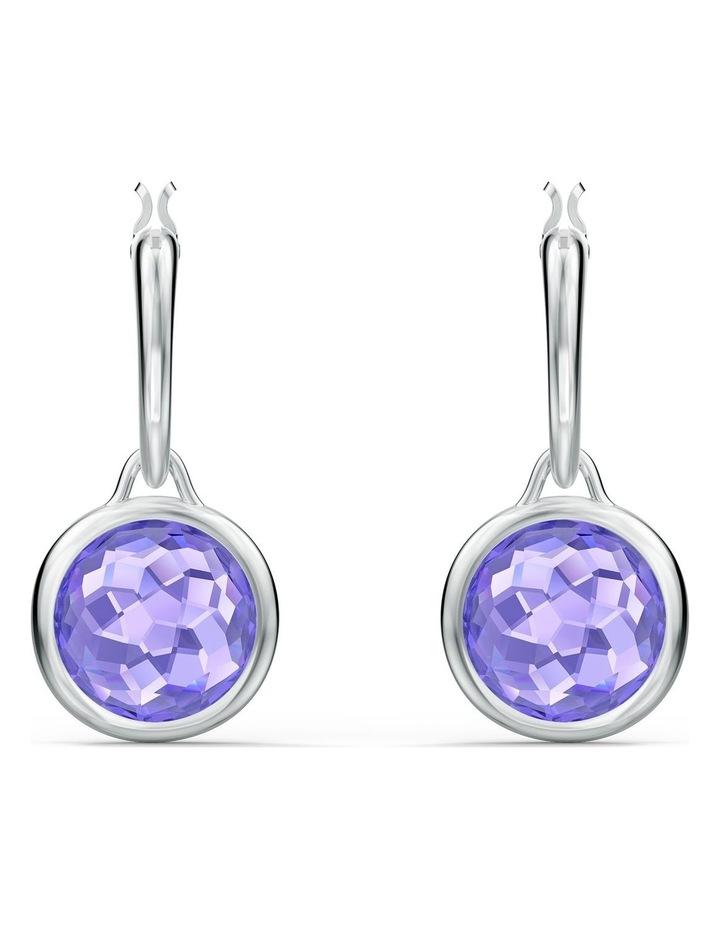 Tahlia Mini Hoop Pierced Earrings - Purple - Rhodium Plated image 1