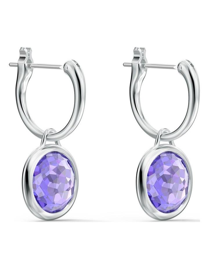 Tahlia Mini Hoop Pierced Earrings - Purple - Rhodium Plated image 3