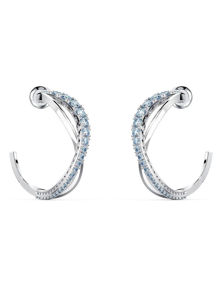 Twist Hoop Pierced Earrings - Blue - Rhodium Plated image 1