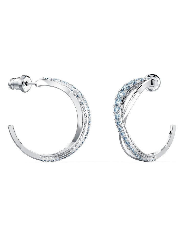 Twist Hoop Pierced Earrings - Blue - Rhodium Plated image 2